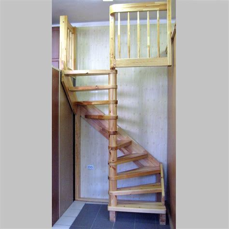 rustic natural wooden spiral stairs for small space for