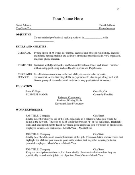 what to put in the objective section of a resume objective section of a resume sles of