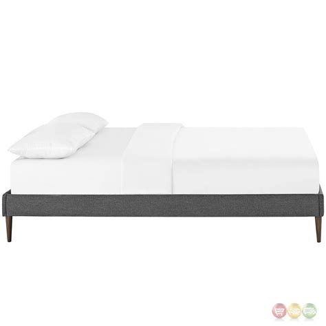 gray bed frame sherry upholstered fabric queen platform bed frame gray