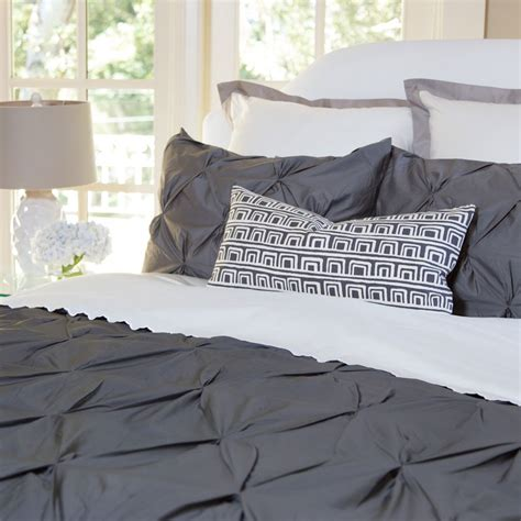 gray pintuck comforter charcoal gray duvet cover the valencia charcoal grey