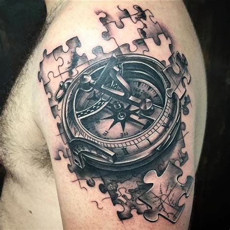 realistic compass with jigsaw pieces in black and gray by