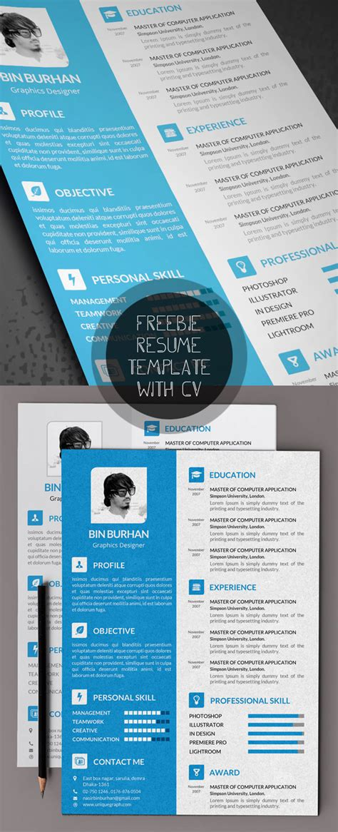 cv template free psd free modern resume templates psd mockups freebies graphic design junction