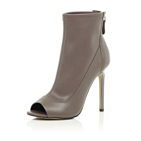 river island grey leather peep toe heeled ankle boots in