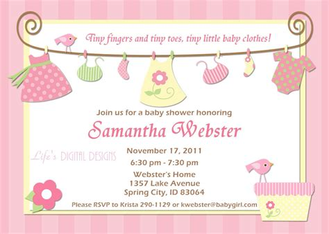 baby shower invitations for girl baby clothes pink and