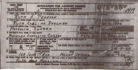 Records And Social Security Numbers Social Security Record Ruth Axelina Dahlman