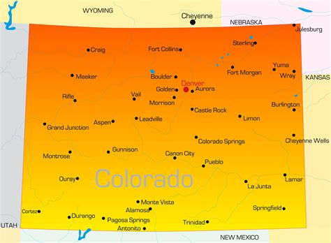 colorado state colors map of colorado guide of the world
