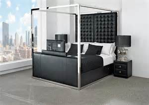 Bed With Tv Footboard White Leather Tv Bed Leather Kingsize Tv Beds The Azure