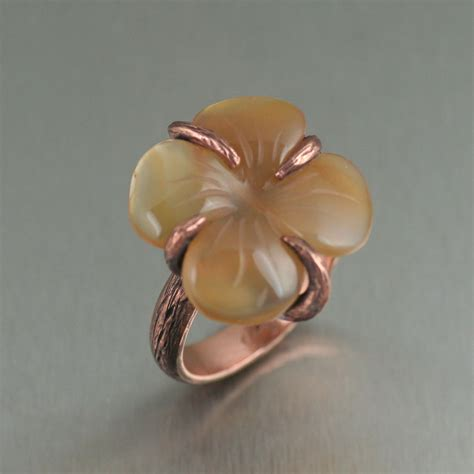 Handmade Copper - carnelian dogwood handmade copper ring