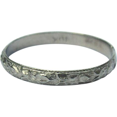 10k gold ring baby band floral white gold from