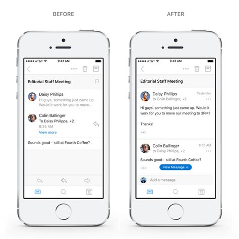 Outlook Not Searching Recent Emails Redesigned Navigation Conversations And Search In Outlook For Ios And Android