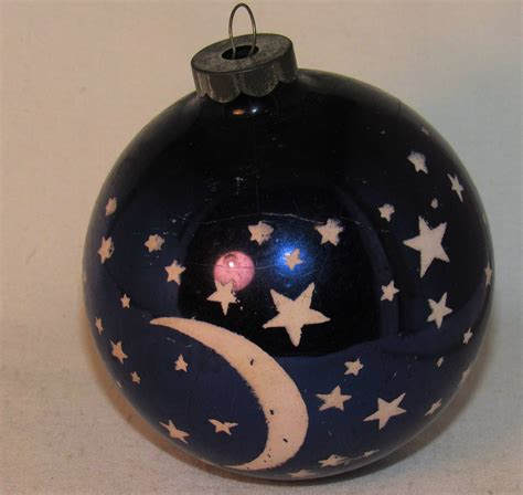 vtg antique large purple stars crescent moon glass