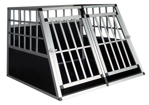 gabbie per cani da auto trasportino doppio gabbia in alluminio per cani da auto