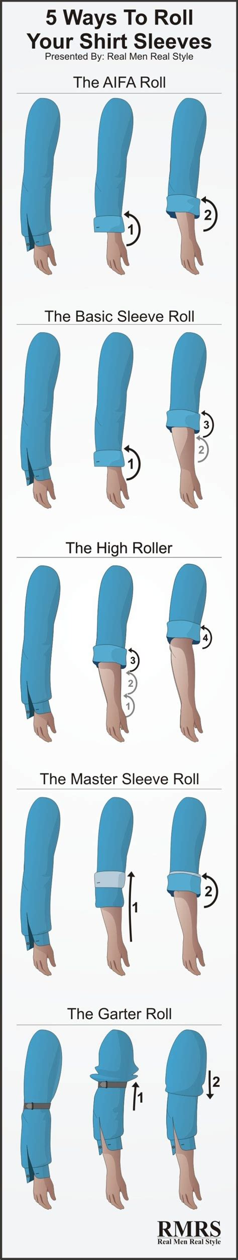 how to your to roll how to roll shirt sleeves 5 ways to fold your shirt sleeves sleeve rolling infographic