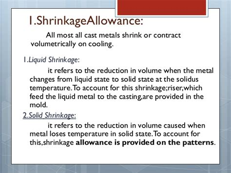 pattern allowances meaning pattern allowances in metal casting