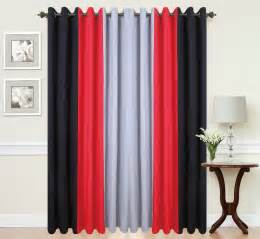Curtains ring top fully lined pair black ready made plain 3tone red