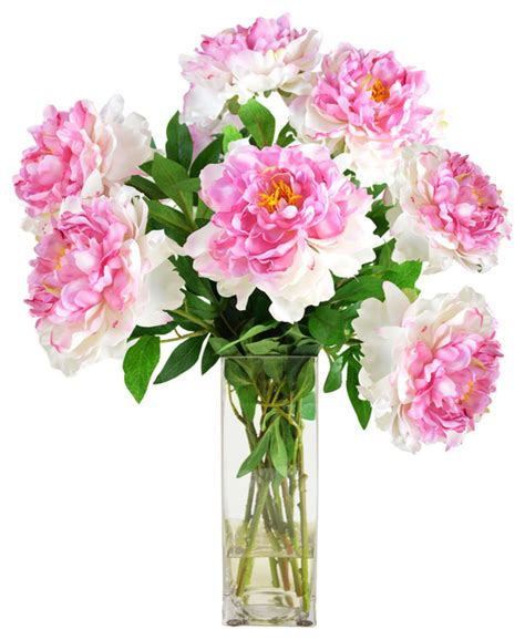 Artificial Flower Displays In Vases by Peony Cluster In Glass Vase Artificial