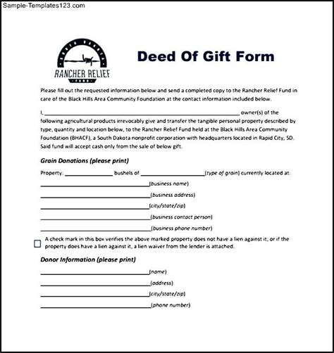 Gift Deed Letter Rancher Relief Deed Of Gift Form Sle Templates