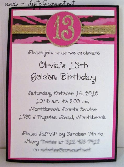 birthday themes 13 year olds golden birthday invitation for 13 year old girl party
