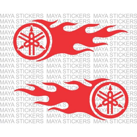 Yamaha Sticker Logo by Yamaha Logo With Flames Stickers Available In Custom
