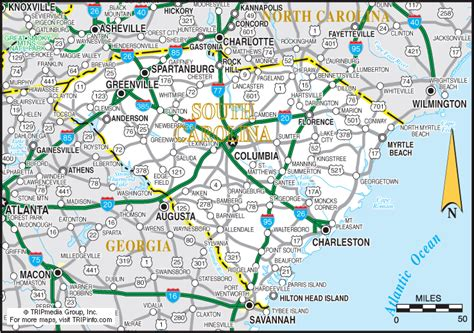 and south carolina road map south carolina travel planning