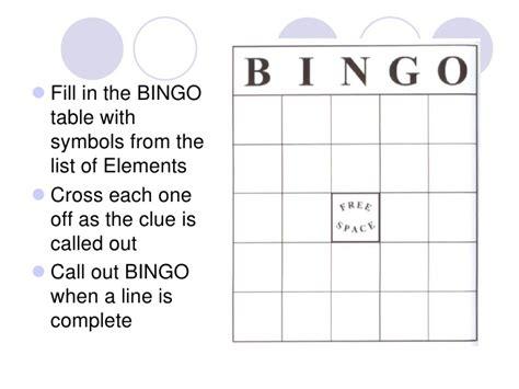 periodic table bingo periodic table