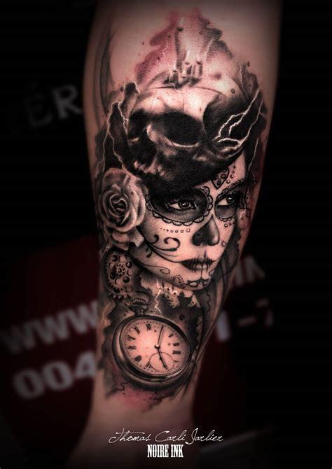 catrinas tattoo catrina with flower tatto on leg