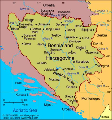 bosnia map bosnia y herzegovina mapa de la regi 243 n mapa de la geograf 237 a regional de ciudades de europa