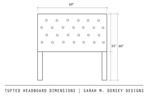 Headboard Dimensions m dorsey designs tufted headboard with nailhead