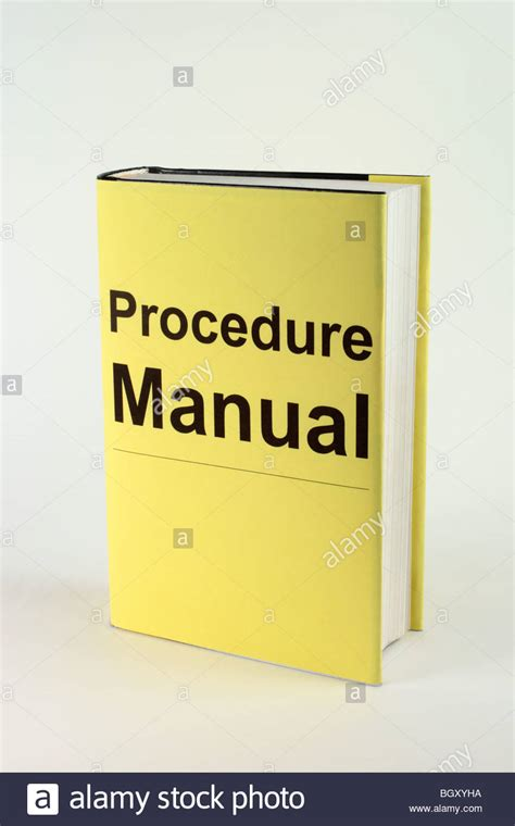 manual for books book with yellow cover thats says procedure manual stock
