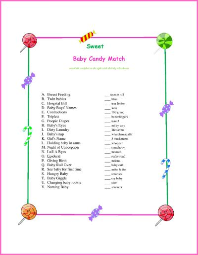 printable match up games candy bar matching game