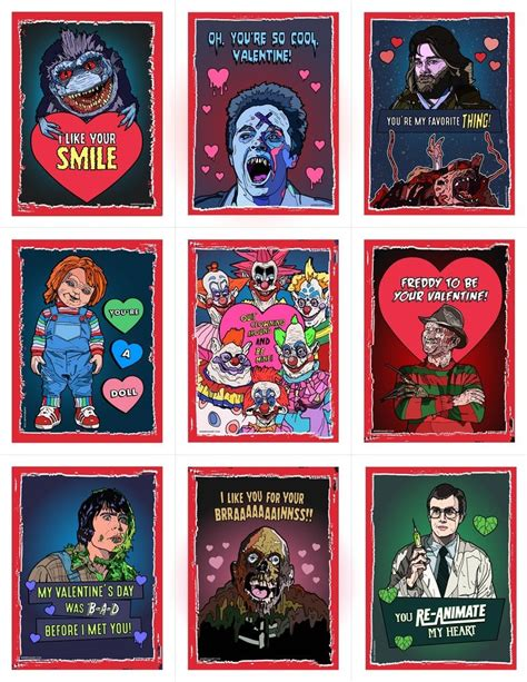 valentines horror image of 80 s horror s day card pack