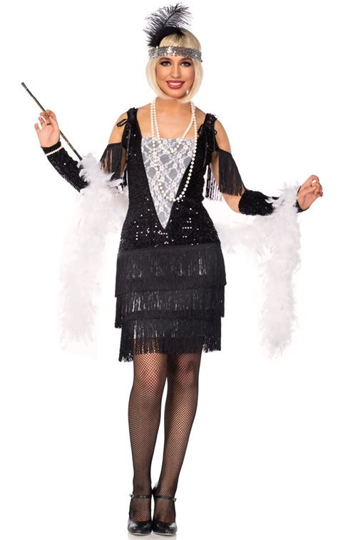 womens rag time flapper black costume wholesale 20s women s sequined flapper costume sexy gatsby black