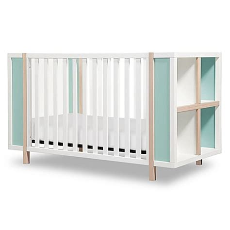 Convertible Cribs With Storage Babyletto Bingo 3 In 1 Convertible Crib And Storage Combo In White Washed With Cool Mint