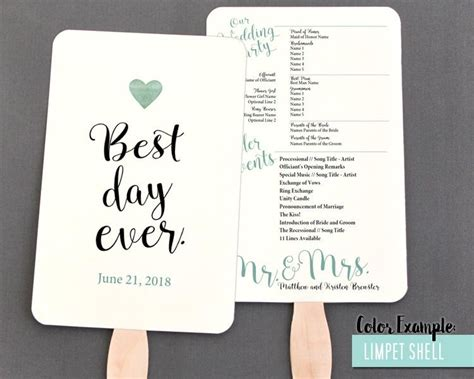 lovely free wedding fan template best day ever wedding