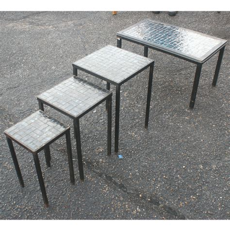 Side Patio Table 4 Vintage Nesting Coffee Side Patio Tables Ebay