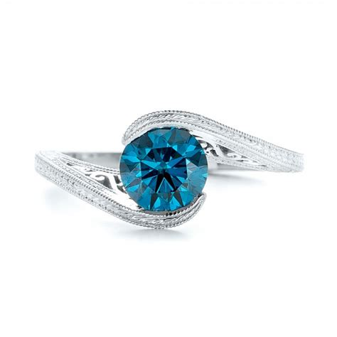 custom solitaire blue engagement ring 102752