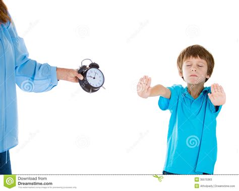 what time to go to bed stubborn kid unwilling to go to bed stock photos image