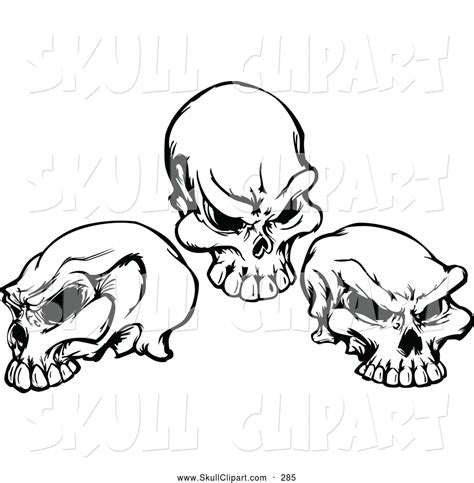 three skull tattoo designs vector clip of three black and white skulls