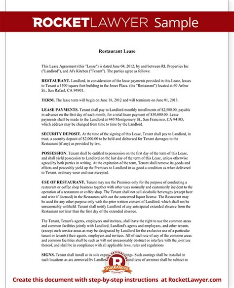 Restaurant Lease Agreement Template Lease Form With Sle Restaurant Contract Template