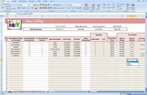 ebay seller templates free ebay spreadsheet template spreadsheet templates for