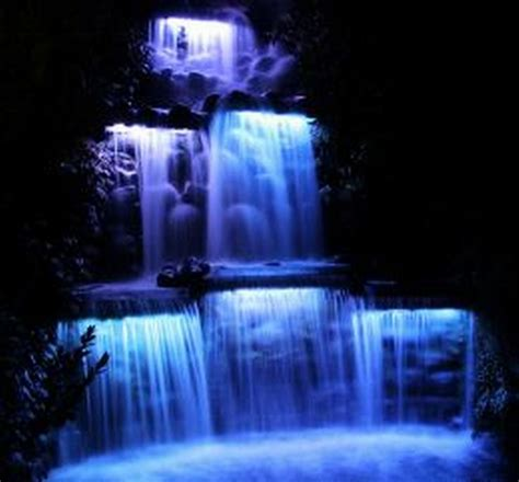 Landscape Lights In Waterfall Landscape And Water Waterfall Lights