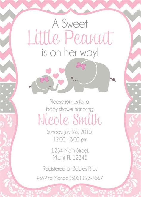 Themed Baby Shower Invitations by Baby Shower Invitation Baby Elephant Themed By