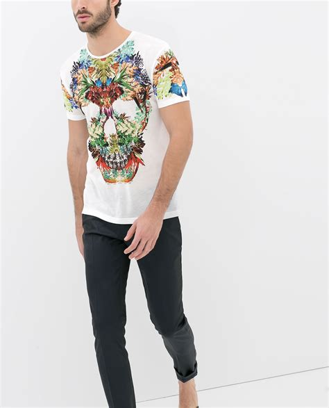 Preloved Zara Tshirt zara skull tshirt with flowers in white for lyst