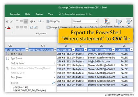 format export csv powershell using the powershell where statement for creating