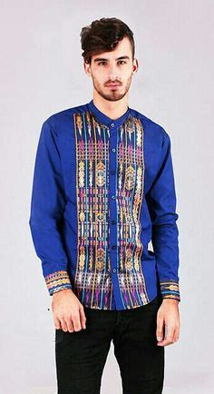 Kemeja Baju Koko Muslim Pria Exe Biru Dongker Kombinasi Batik baju kemeja pria wangki baju formal kantor muslim koko