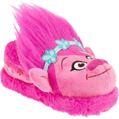 toddler slippers size 5 dreamworks trolls toddler pink poppy slippers plush