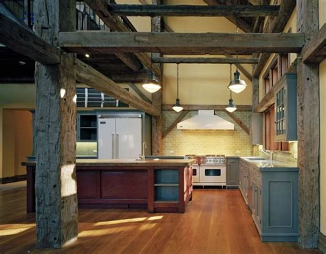 barn red kitchen ideas a fat old barn wood beam on the left i like the various