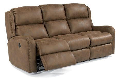Flexsteel Big Recliner by Flexsteel Cameron Rustic Power Reclining Sofa With