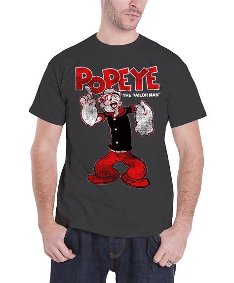 Kaos Olive Popeye Tshirt popeye t shirt distressed sailor new official mens grey ebay