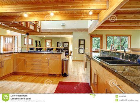 interior of kitchen cabinets log cabin style kitchen interior stock image image